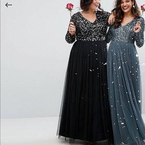 f115f72d ASOS Dresses | Maya Plunge Long Sleeve Maxi Dress Sequin Tulle ...